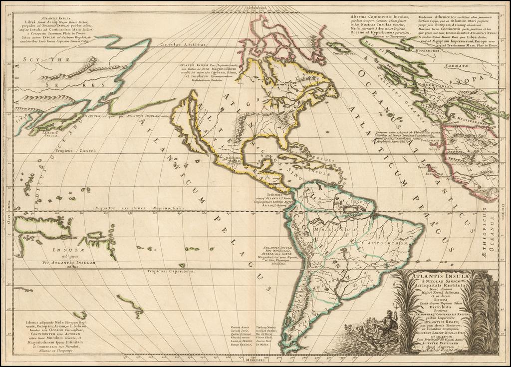 Atlantis Insula (Unrecorded State) By Nicolas Sanson
