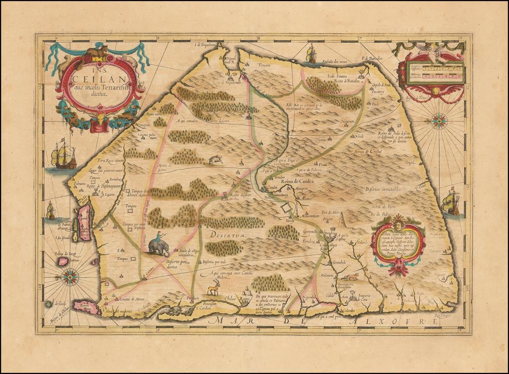 Ins. Ceilan quae incolis Tenarisin dictur By Jodocus Hondius