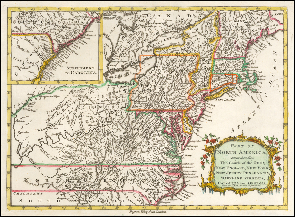 Part of North America; comprehending the Course of the Ohio, New England, New York, New Jersey, Pensilvania, Maryland, Virginia, Carolina and Georgia By John Barrow