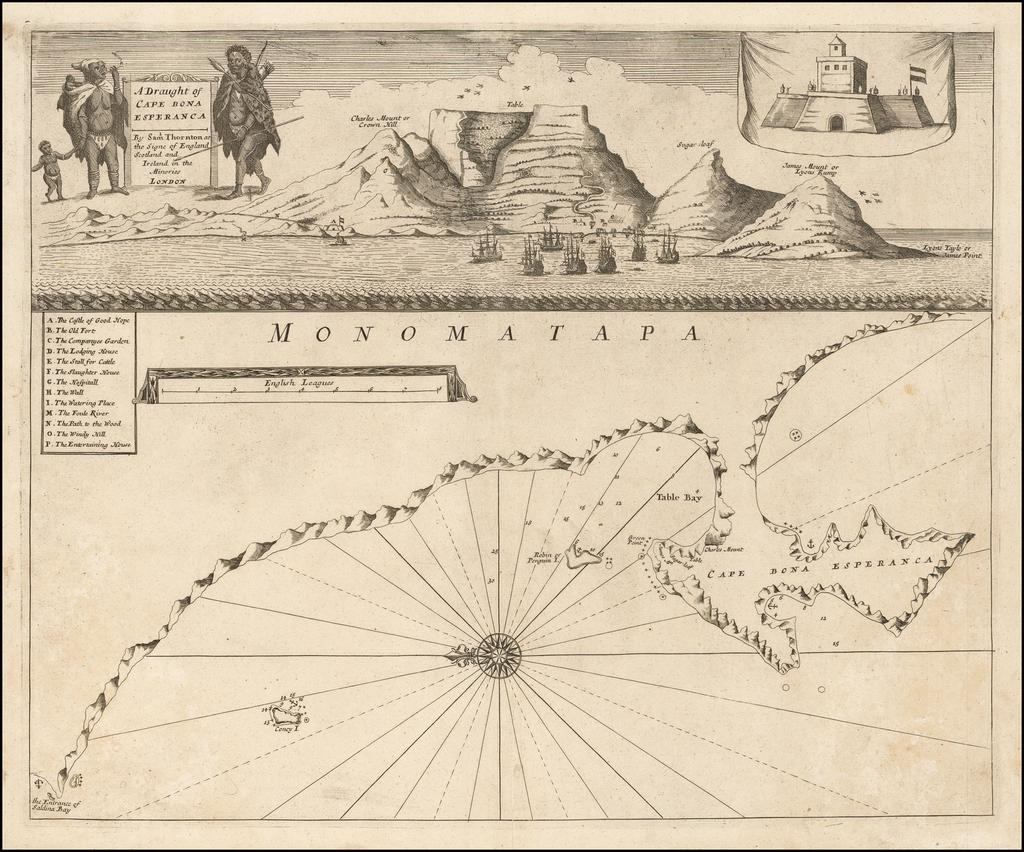 A Draught of the Cape of Bona Esperanca By Samuel Thornton