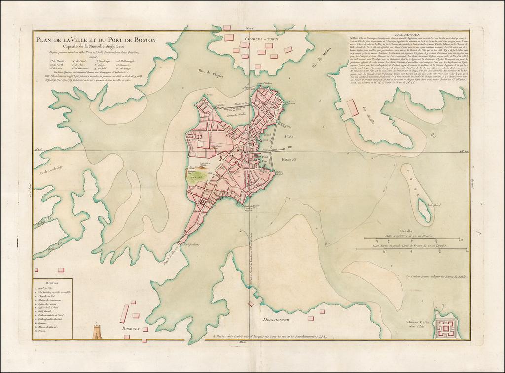 Plan de la Ville et Du Port de Boston Capitale de la Nouvelle Angleterre By Jacques Nicolas Bellin  &  Jean Lattre