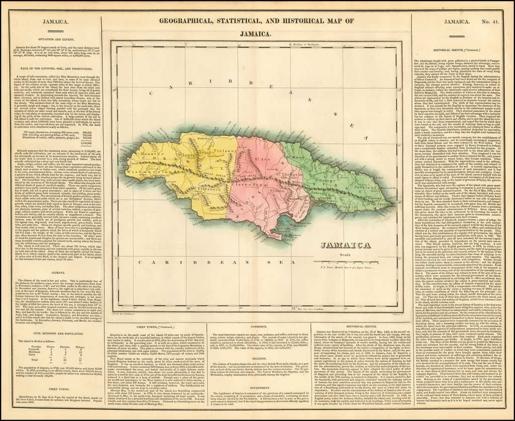Geographical, Statistical and Historical Map of Jamaica By Henry Charles Carey  &  Isaac Lea