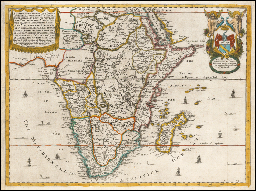 A Mapp of the Higher and Lower Aethiopia, Comprehending Ye Several Kingdomes... The Empire of the Abissines, The Coast of Aznguebar, Abex, of Nubia… Cafre . . . 1669 By Richard Blome