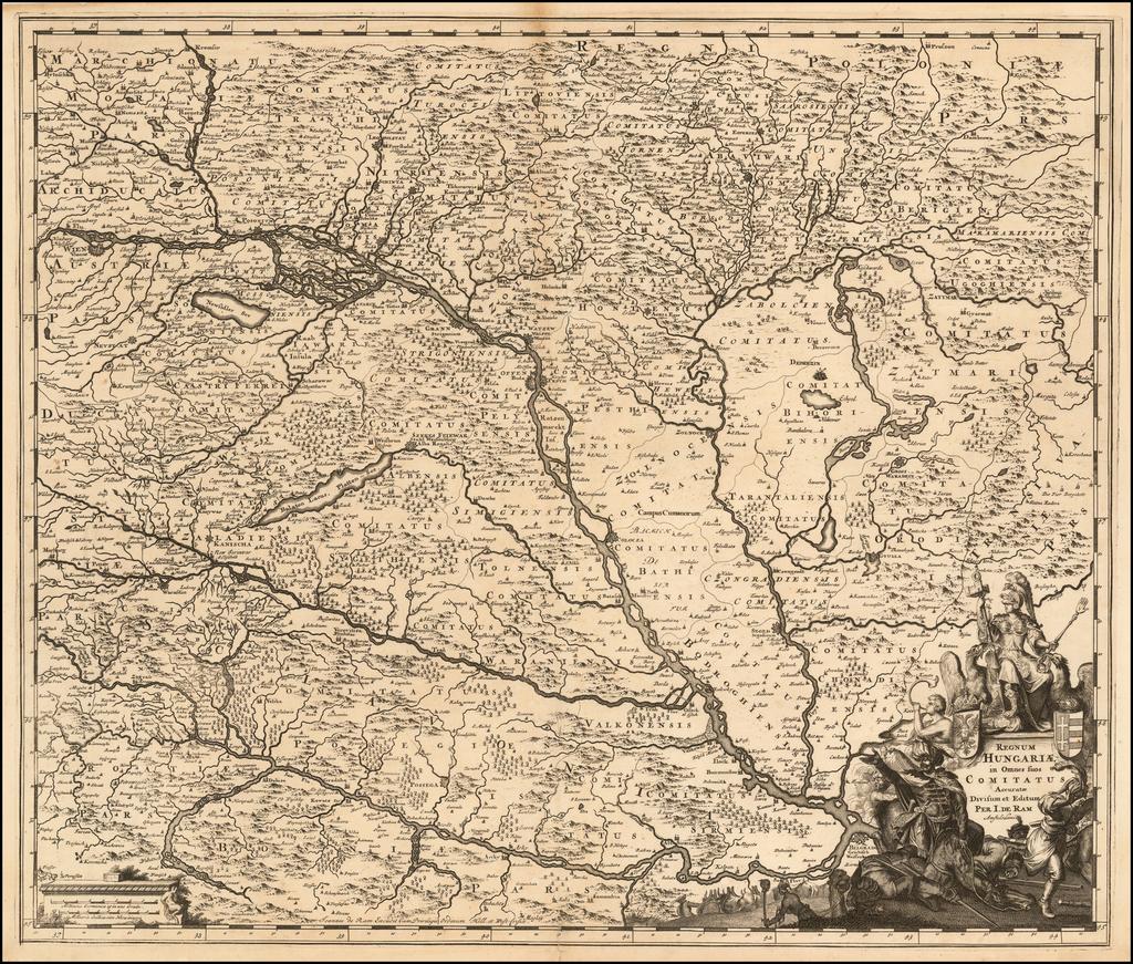 Regnum Hungariae in Omnes suos Comitatus Accurate Divisum Editum Per I. de Ram. By Johannes De Ram