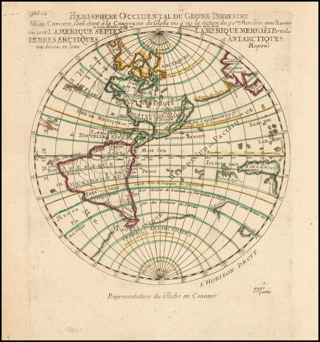 Hemi-sphere Occidental Du Globe Terrestre J'eu en Concave, l'oeil etant a la Convexite du Globe vis a vis la Section du 90me. Meridien avec  l'Equateur et a une distance egalle au Demi Diametre de la Carte . . . 1704 By Pierre Moullart Sanson