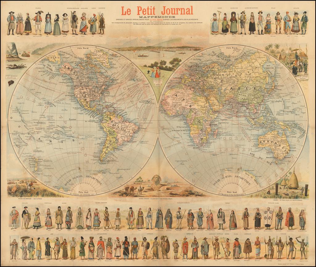 [Wall Map of the World] Mappemonde Dressee et Grave Specialement pour Le Petit Journal D'apres les Documents le Plus Regents . . .  By Menetrier