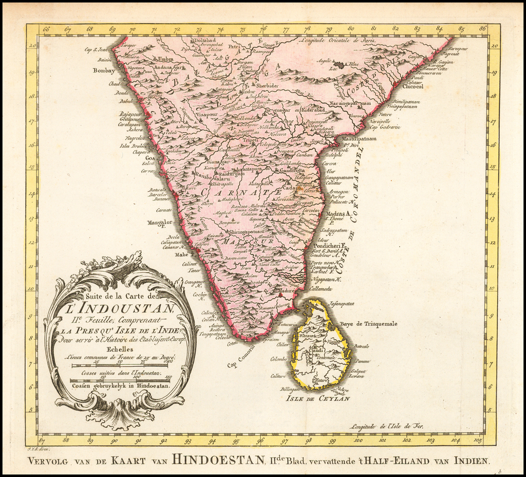 Suite de la Carte de L'Indoustan.  IIe. Feuille, Comprenant La Presqu'Isle de L'Inde By Jacques Nicolas Bellin