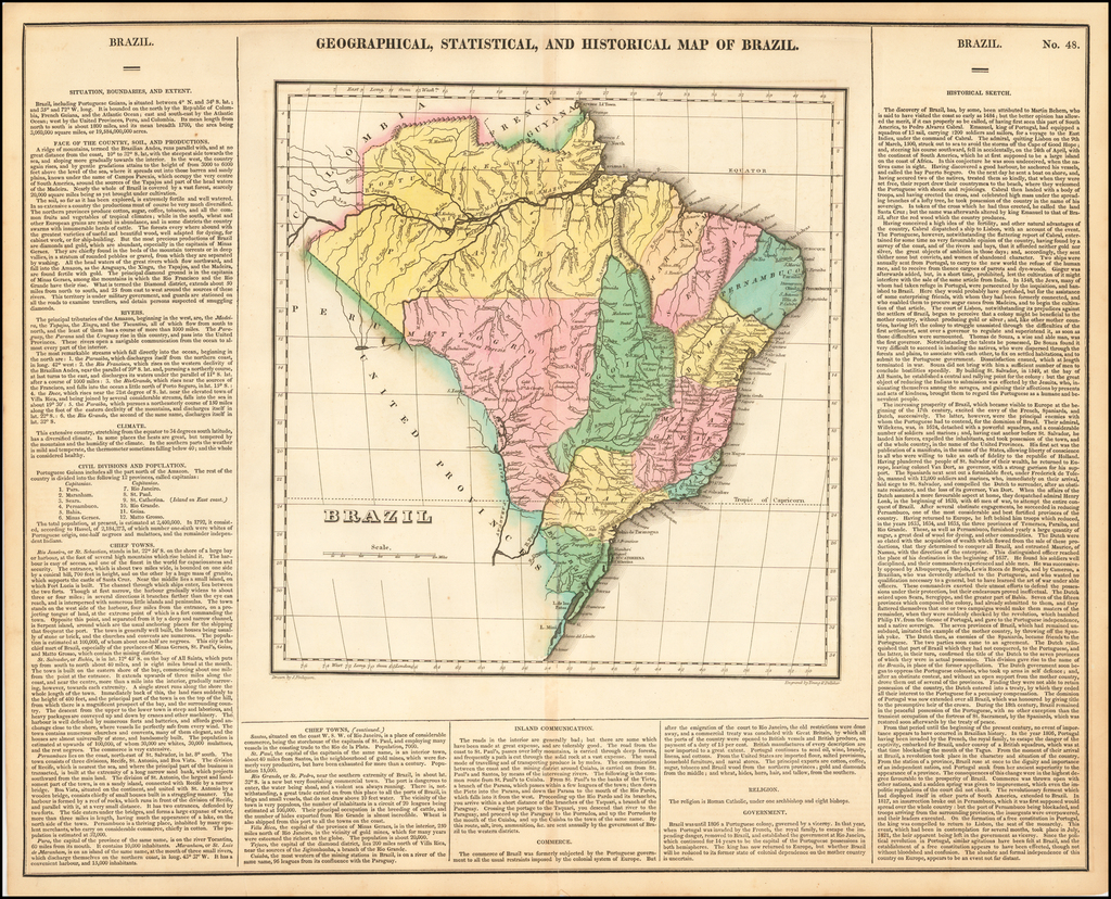 Geographical, Statistical and Historical Map of Brazil By Henry Charles Carey  &  Isaac Lea