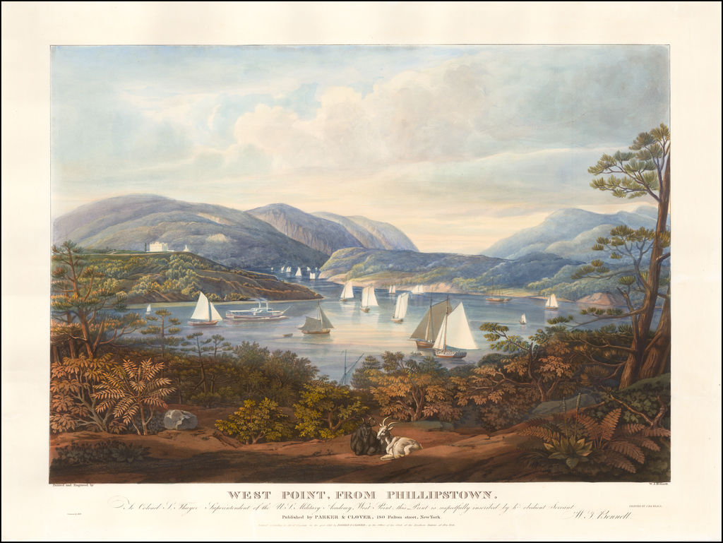 West Point From Phillipstown.  To Colonel S. Thayer Superintendant of the W.S. Military Academy, West Point, This Print is Respectfully Inscribed By His Obedient Servant W.J. Bennett By William James Bennett