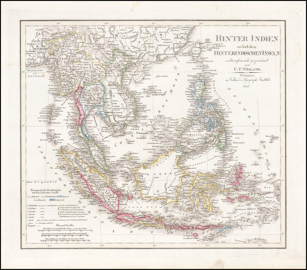 Hinter Indien nebst den Hinterindischen Inseln entwrfen und Gezeichnet von C.F. Weiland . . . 1828 By Carl Ferdinand Weiland