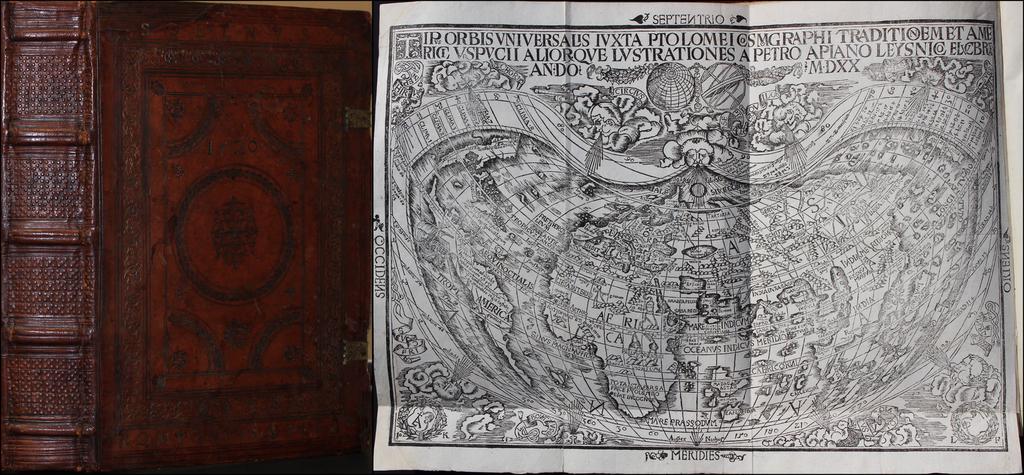 [Apian World Map and Book] Tipus Orbis Universalis Iuxta Ptolomei Cosmographi Traditionem [with] Ioannis Camertis Minoritani, Artium, et Sacrae Theologiae Doctoris, in.C.IVLII Solini... By Peter Apian