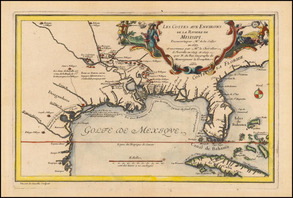 Les Costes Aux Environs De La Riviere De Misisipi Decouvertes par Mr. De la Salle en 1683, et reconnues par Mr. Le Chevallier d'Iberville en 1698 et 1699 . . . 1701 By Nicolas de Fer