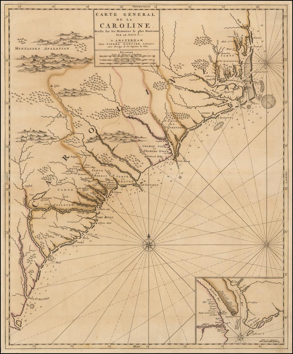 Carte General De La Caroline.  Dresse sur les Memoires le plus Nouveaux Par Le Sieu A S . . .  By Pieter Mortier