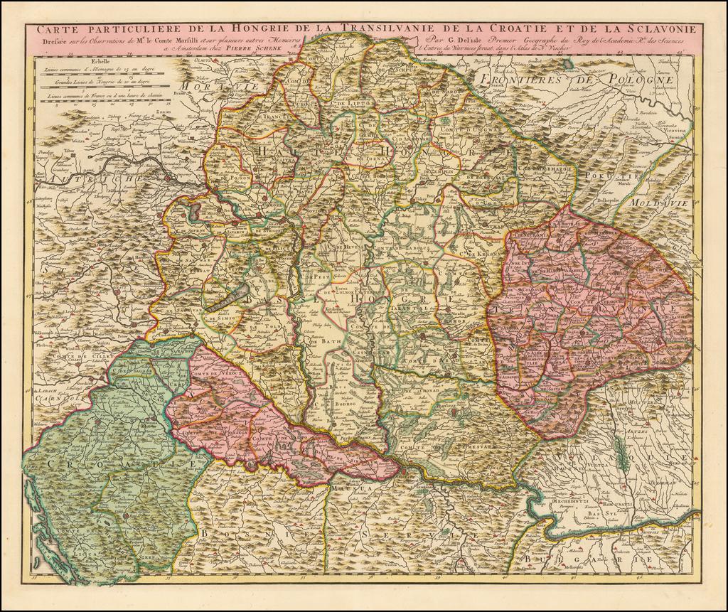Carte Particuliere de la Hongrie de la Transilvanie et de la Croatie et de la Sclavonie Dressee Observations de Mr. le Comte Marsilli . . .  By Peter Schenk