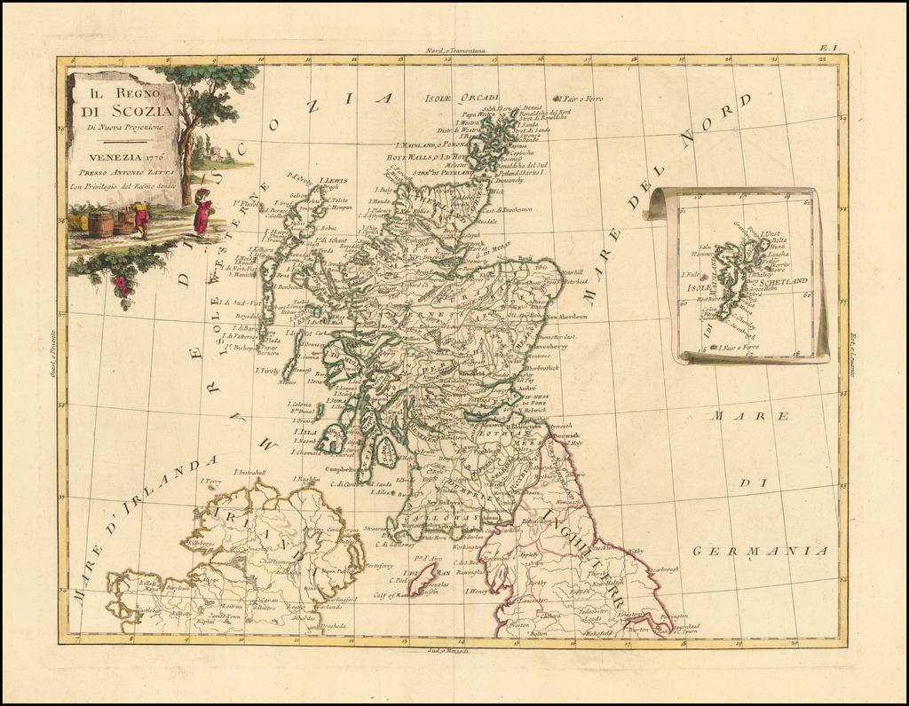 Il Regno di Scozia Di Nuova Projezione . . 1776 By Antonio Zatta