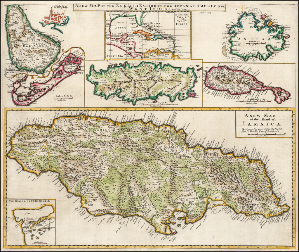 A New Map of the English Empire in the Ocean of America or West Indies (Jamaica,Port Royal, Bermuda, Barbados, Bridgetown, Tobago, Antigua, St. Christophers, and Generall Chart of the West Indies) By John Senex