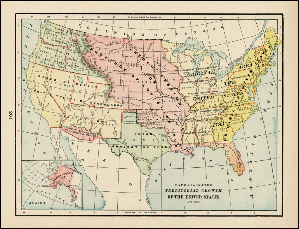 Map Showing The Territorial Growth of the United States 1776 ...