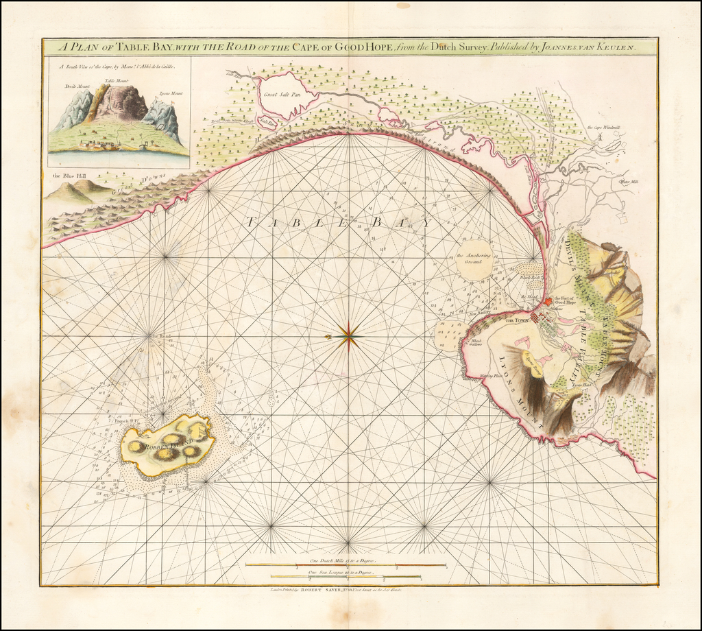 A Plan of Table Bay, with the Road of the Cape of Good Hope, from the Dutch Survey.  Published by Joannes van Keulen By Robert Sayer
