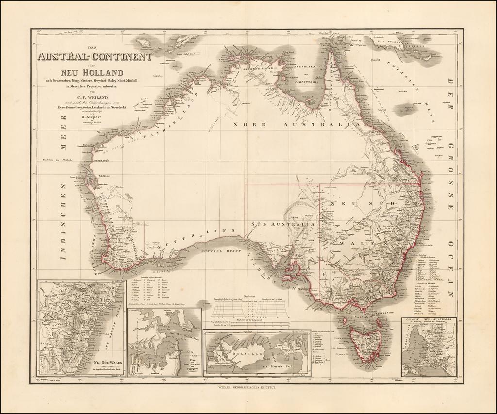 Das Austral-Continent oder Neu Holland nach Krusentern, King, Flinders, Freycinet, Oxey, Sturt, Mitchell in Mercator's Projection entworfen von C.F. Weiland und Eyre, Frome, Grey, Stokes, Leichardt, und Strzeliecki . . . 1848 By Heinrich Kiepert