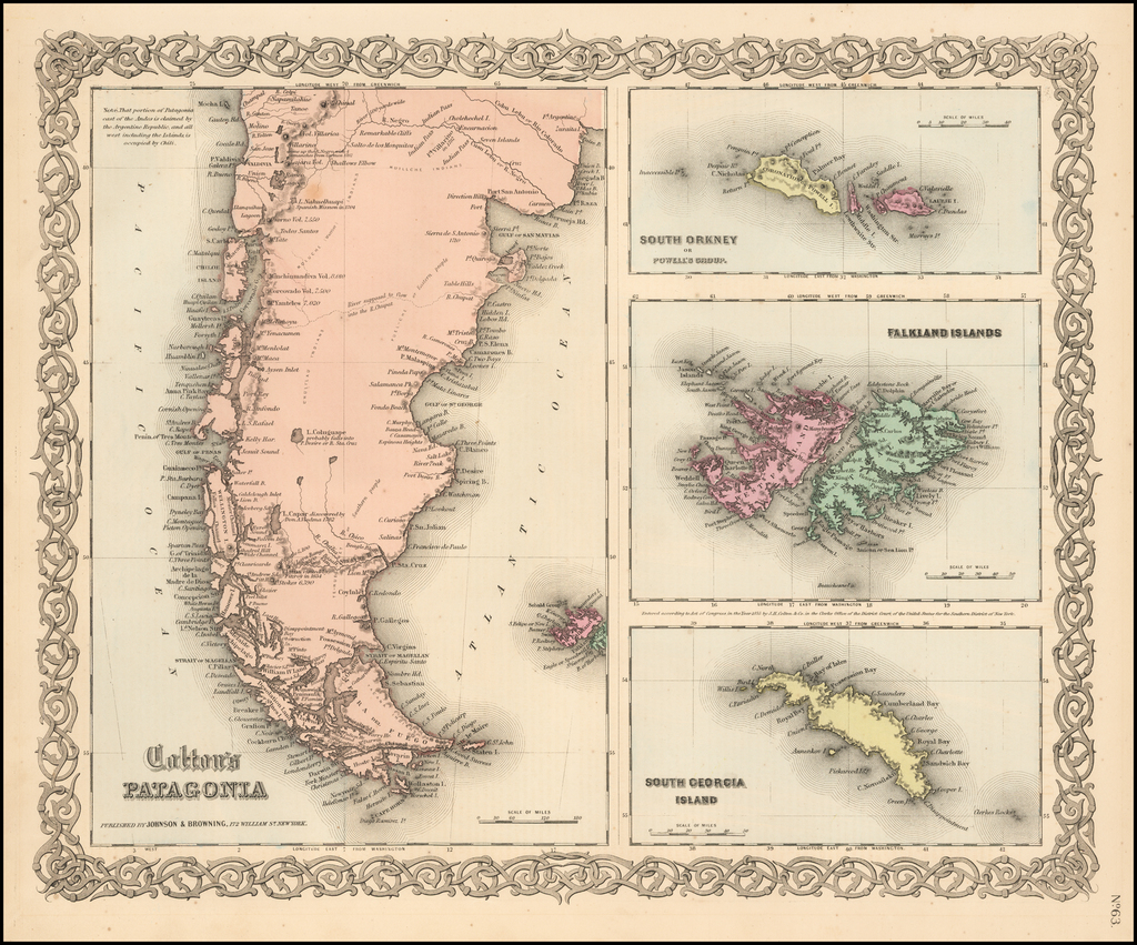 Patagonia [with] South Orkney, Falkland Islands,  & South Georgia Island By Joseph Hutchins Colton