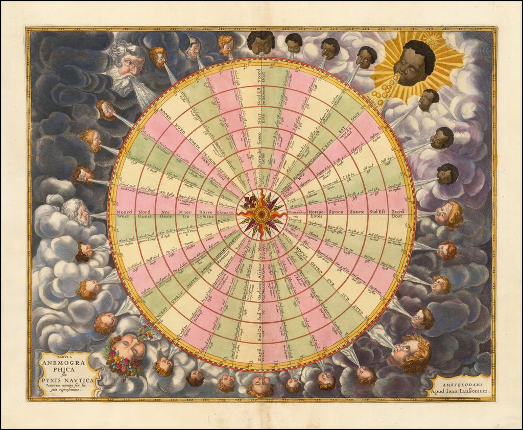 Tabula Anemographica seu Pyxis Nautica ventorum nomina sex linguis repraesentans By Jan Jansson