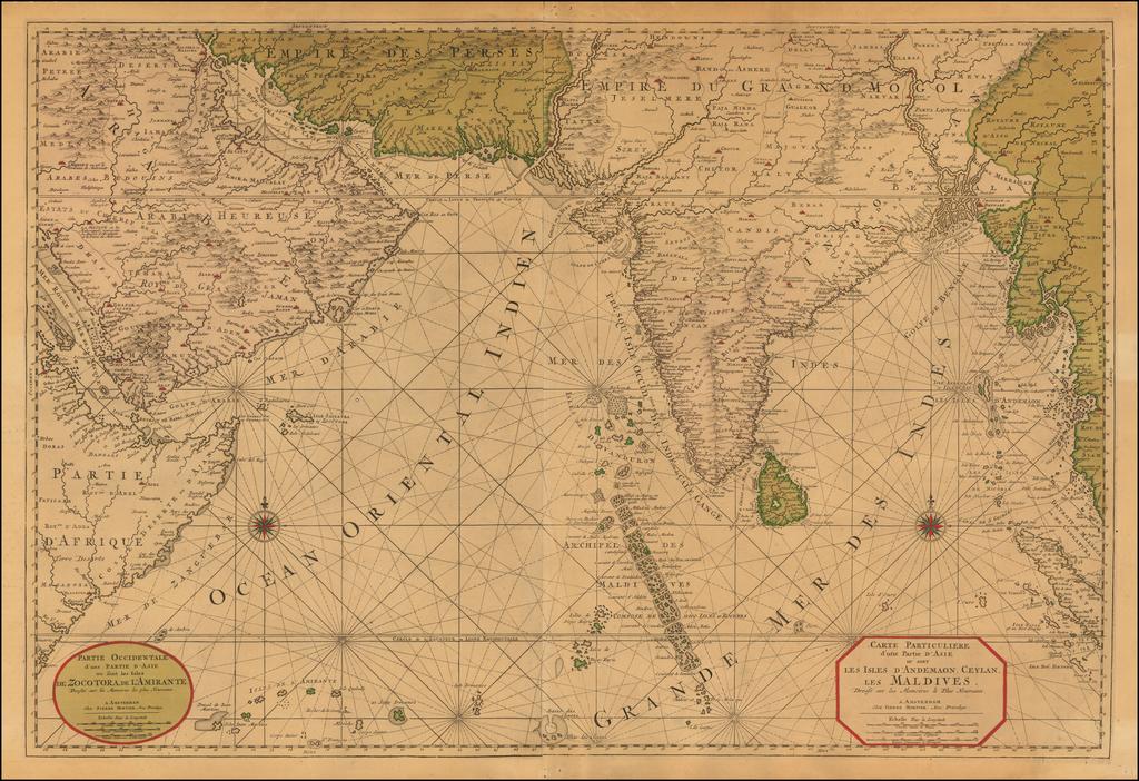 Carte Particuliere d'une Partie d'Asie ou sont Les Isles D'Andemaon, Ceylan, Les Maldives . . . [with] Partie Occidentale d'une D'Asie ou sont les Isles De Zocotora De l'Amirante . . .  By Pieter Mortier