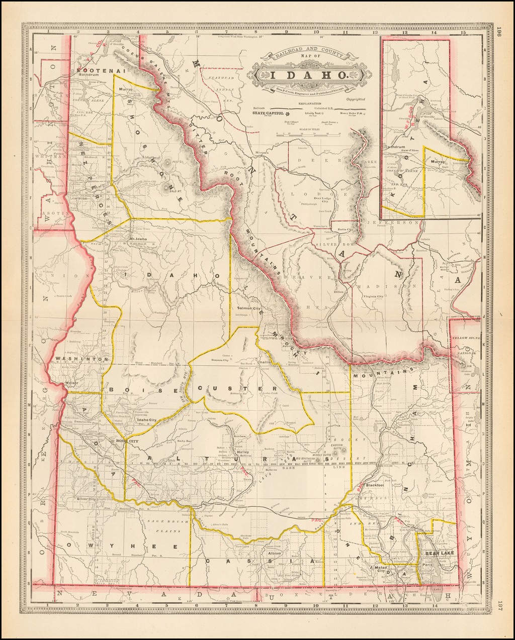 Railroad and County Map of Idaho By George F. Cram