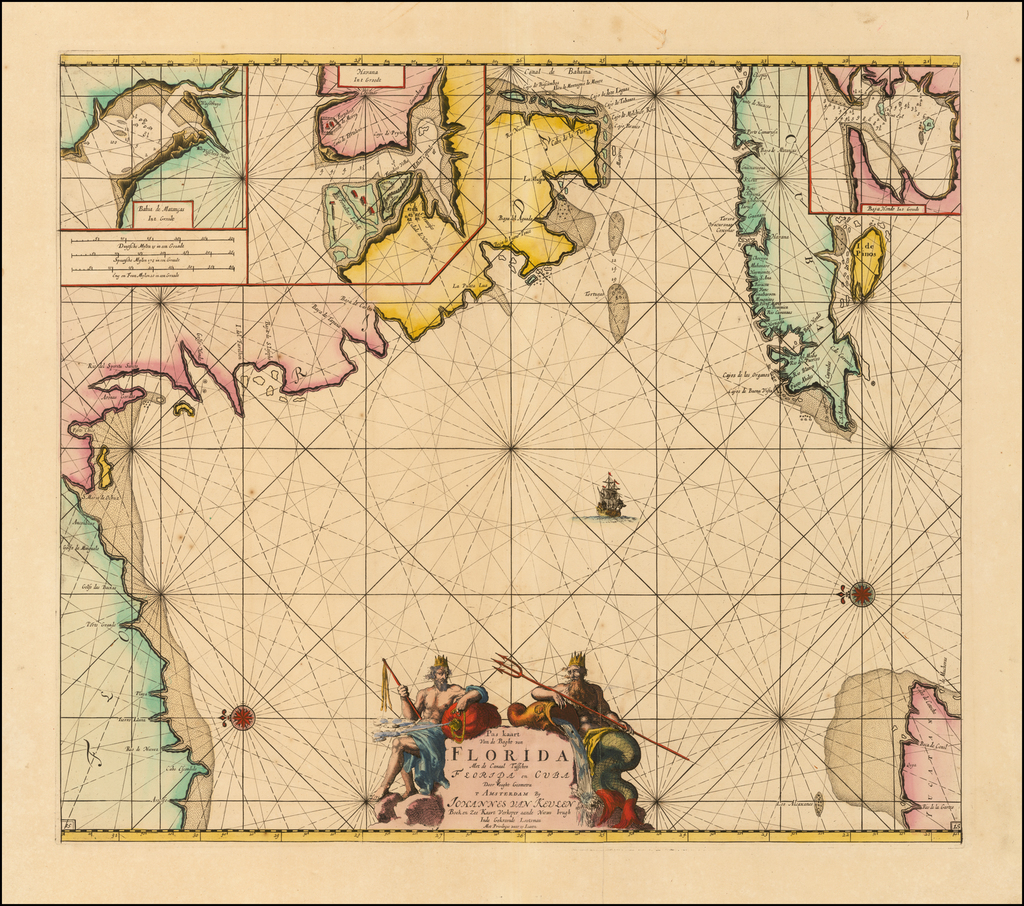 Pas Kaart Van De Boght van Florida Met de Canaal Tusschen Florida en Cuba Door Vooght Geometra . . . By Johannes Van Keulen