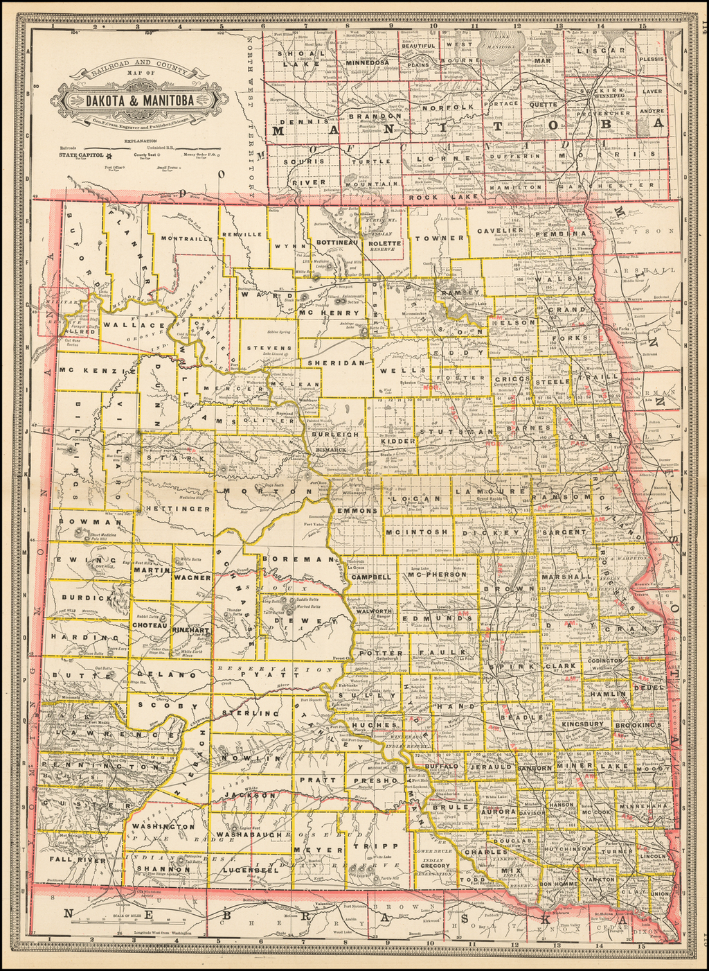 Railroad Map of Dakota & Manitoba By George F. Cram