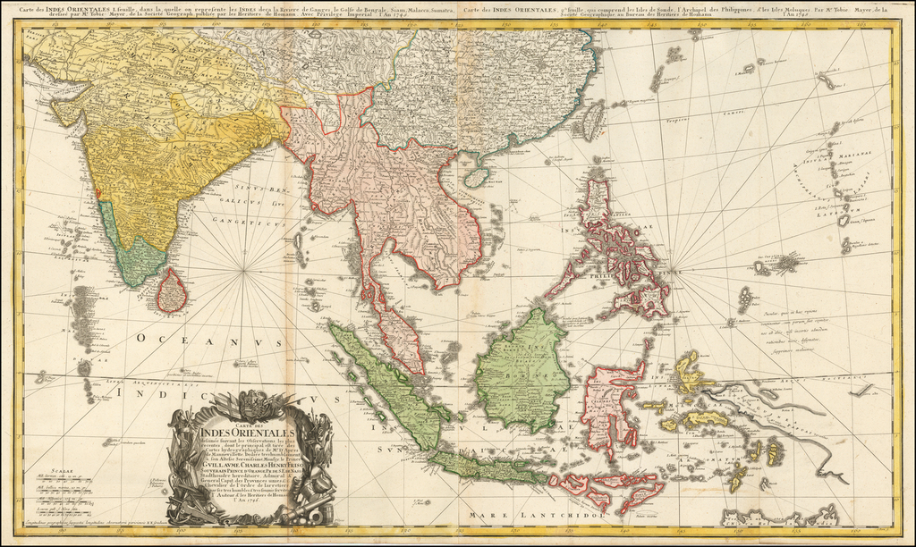 Carte Des Indes Orientales dessinee suivant les Observations les plus recentes dont le principal est tiree des Cartes hydrographiques de Mr. D'Apres de Mannevillette . . .1748 By Homann Heirs