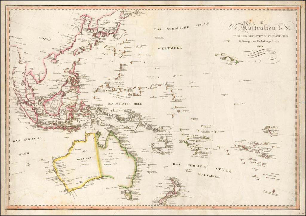 Australien nach den Neuesten Astronomischen Bestimungen und Entdeckungs Reisen . . . 1807 By Tranquillo Mollo