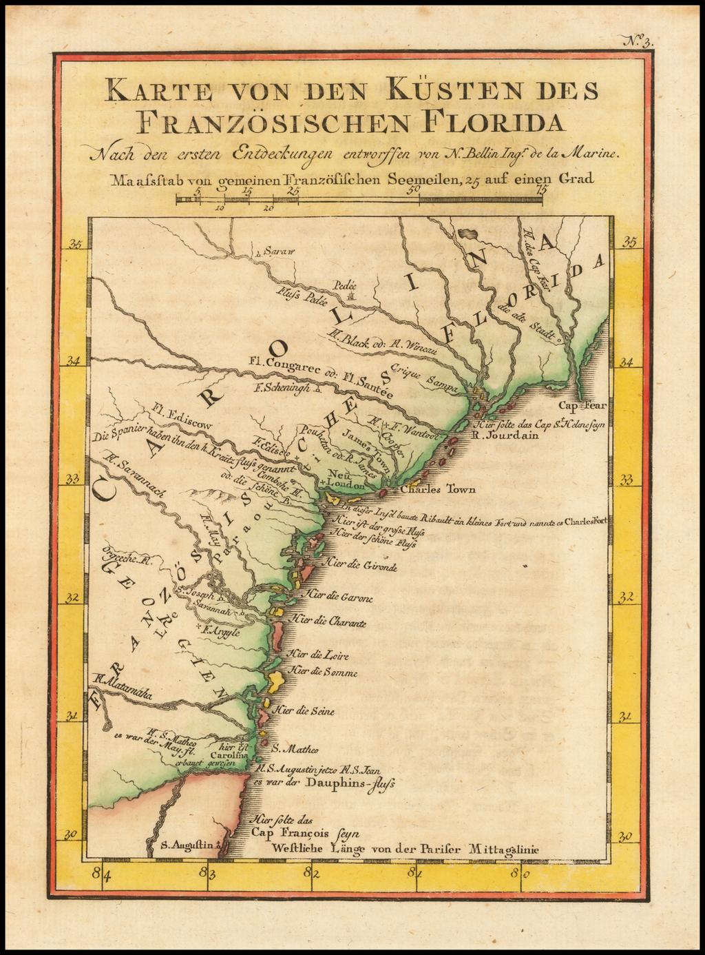 Karte von den Kusten des Franzosischen Florida By Jacques Nicolas Bellin