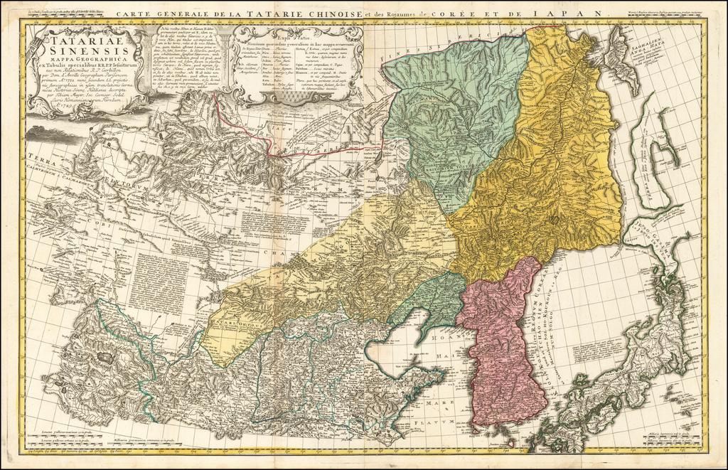 Tatariae Sinensis Mappa Geographica ex Tabulis secialibus R.R.P.P. Iesuitarum nec non Relationibus R.P. Gerbillon per Doom d'Anville  . . . 1732. nunc Secundum L.L. Projectionis Stereographicae . . . Per Tobiam Mayer . . . 1749 By Tobias Mayer
