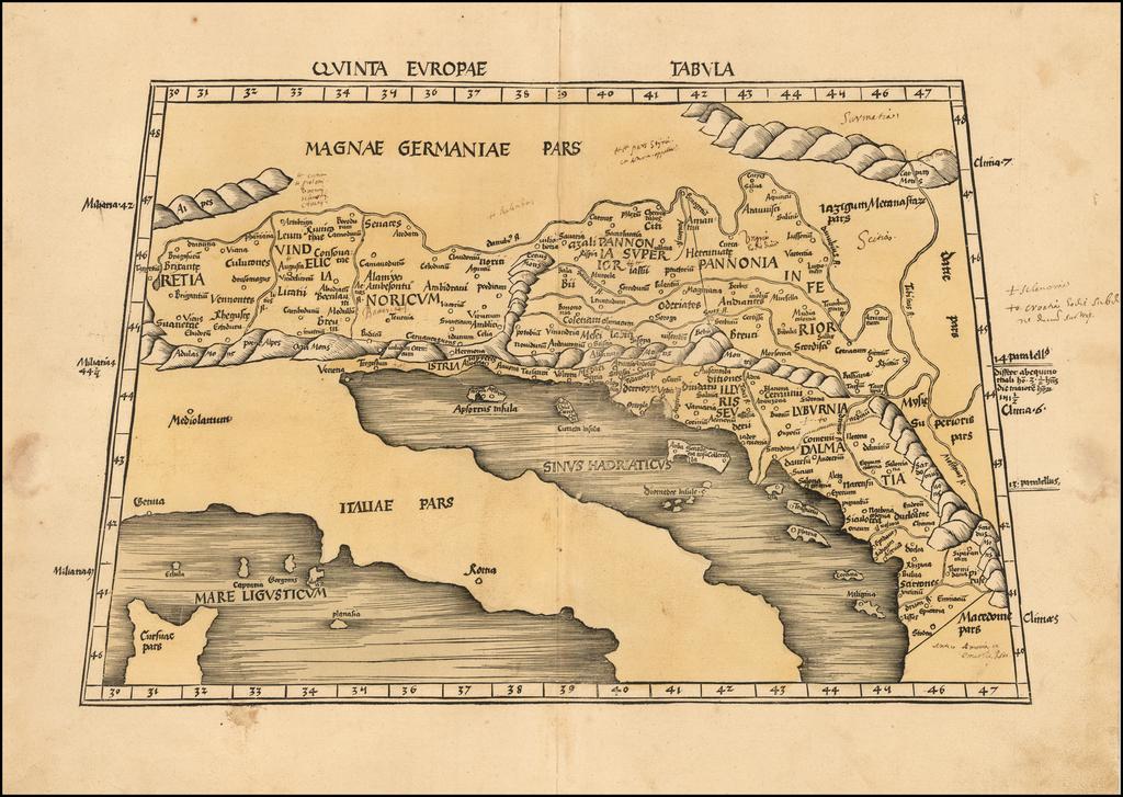 (Adriatic, Balkans, Austria, Hungary, Croatia, Slovenia)  Quinta Europae Tabula By Martin Waldseemüller