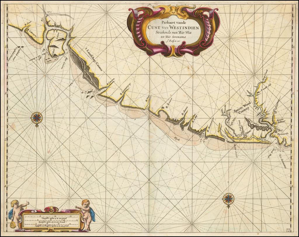 (Surinam & French Guiana)  Paskaerte vande Cust van Westindien Streckende van Rio Wia tot Rio Soronama . . .  By Arent Roggeveen / Jacobus Robijn