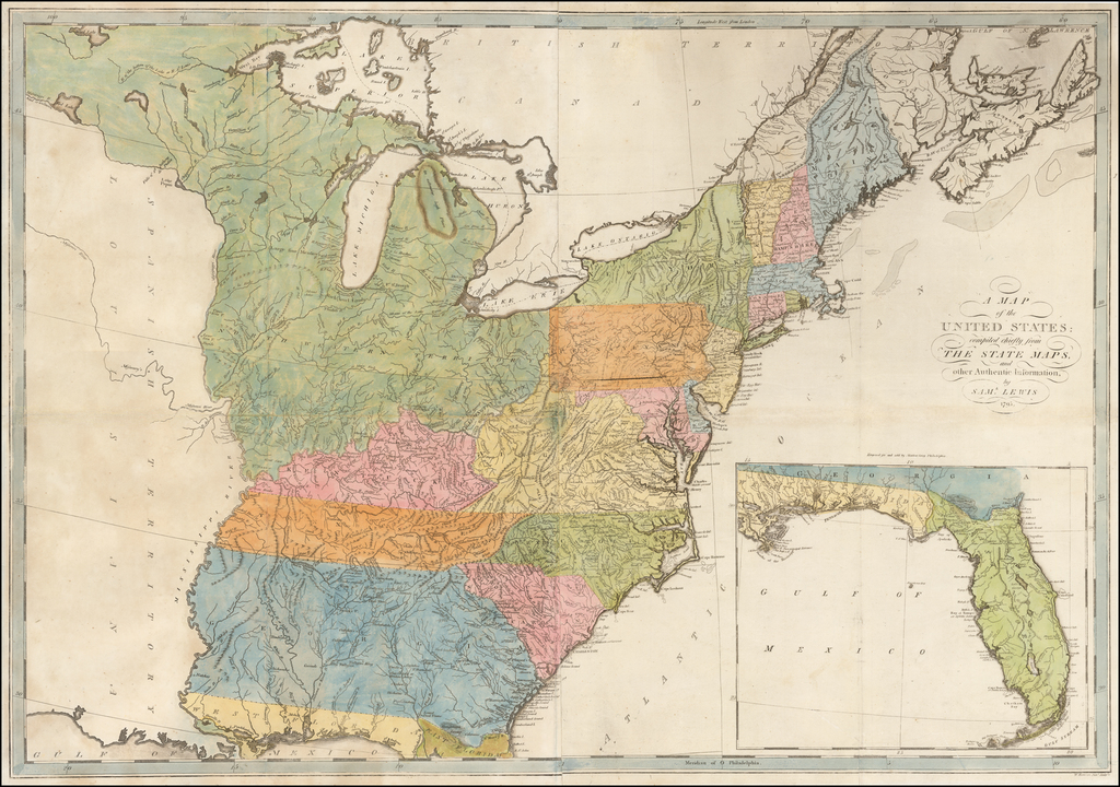 A Map of the United States compiled chiefly from The State Maps and other Authentic Information, by Saml. Lewis  1795 By Matthew Carey