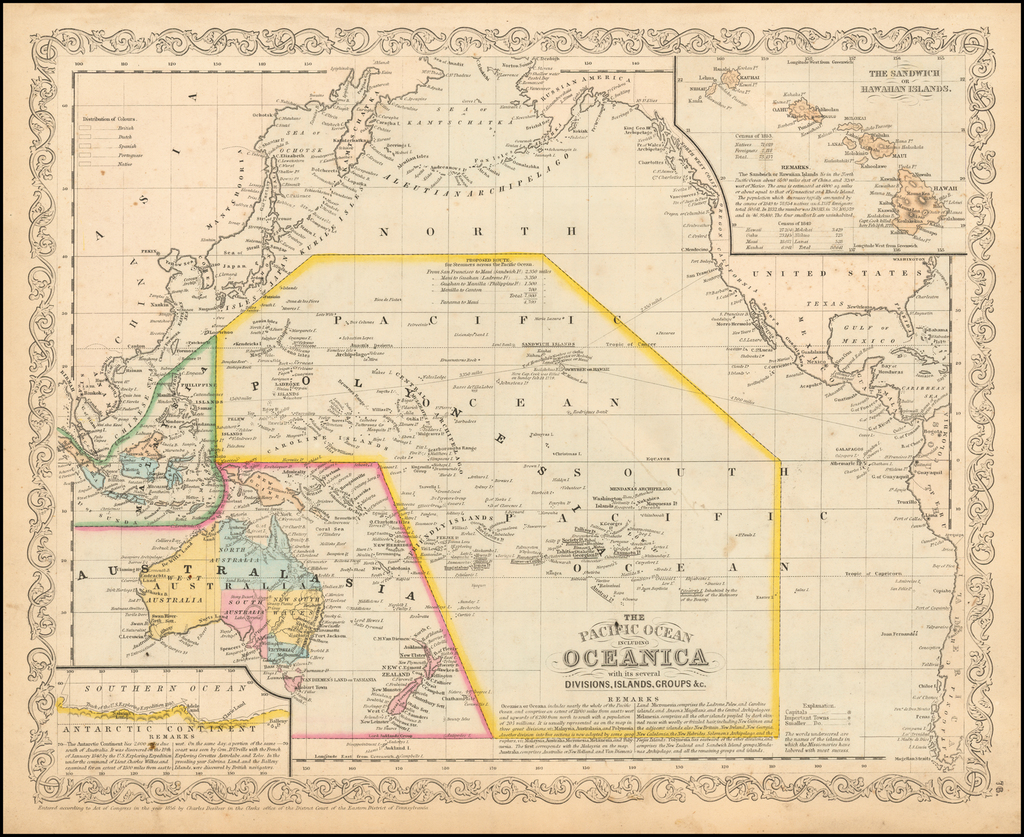 The Pacific Ocean Including Oceanica with its several Divisions, Groups, &c. By Charles Desilver