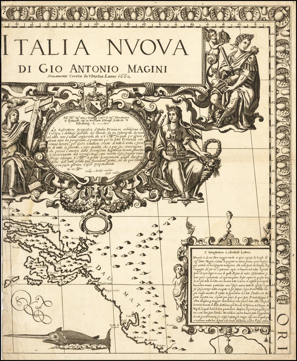 Italia Nuova di Gio Antonio Magini Novamente Coreta In Venetia Lanno 1662 By Giovanni Antonio Magini