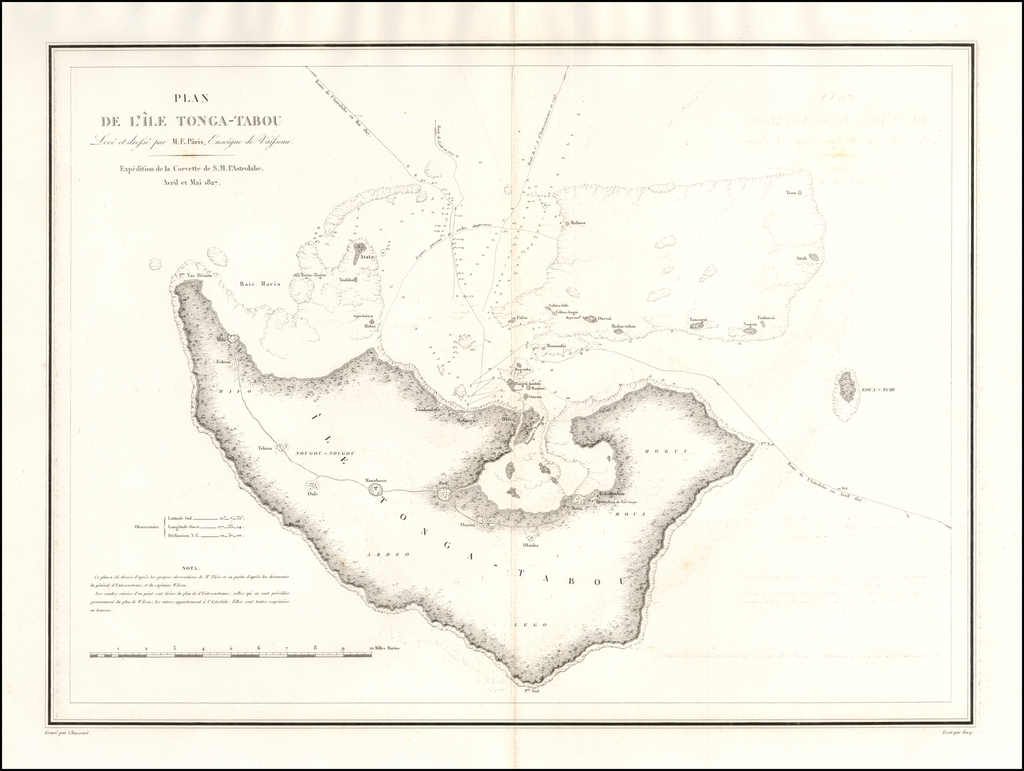 Plan De L'Ile Tonga-Tabou Leve et dresse par M. E. Parais . . . 1827 By Jules Sebastian Cesar Dumont-D'Urville