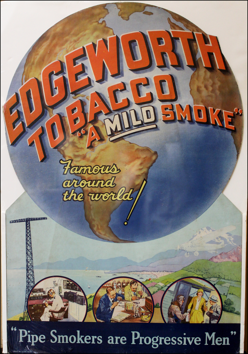 (World Map - Tobacco Advertising)  Edgeworth Tobacco (store display) By Larus & Brother Company