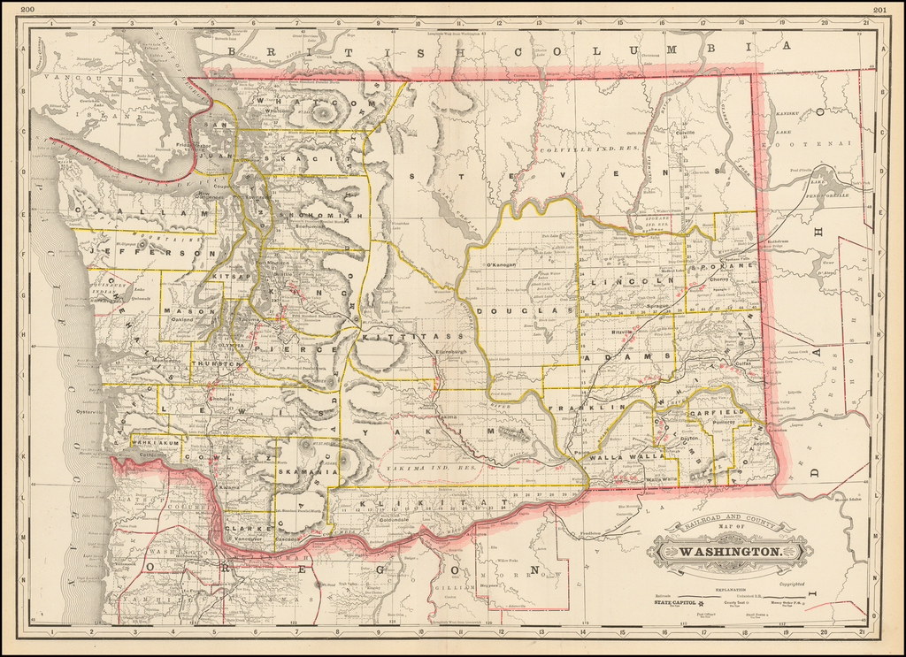 Railroad and County Map of Washington By George F. Cram