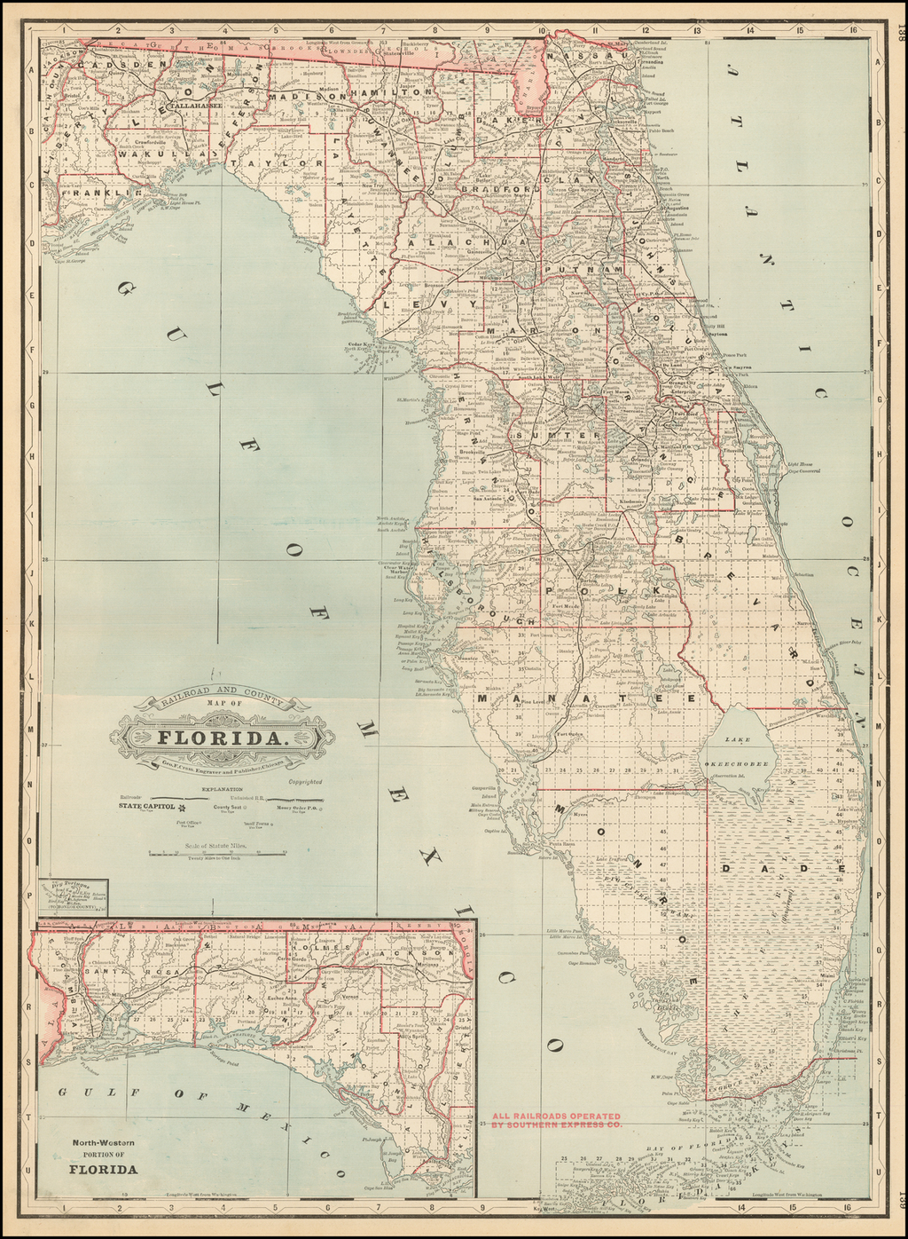 Rail Road and County Map of Florida By George F. Cram
