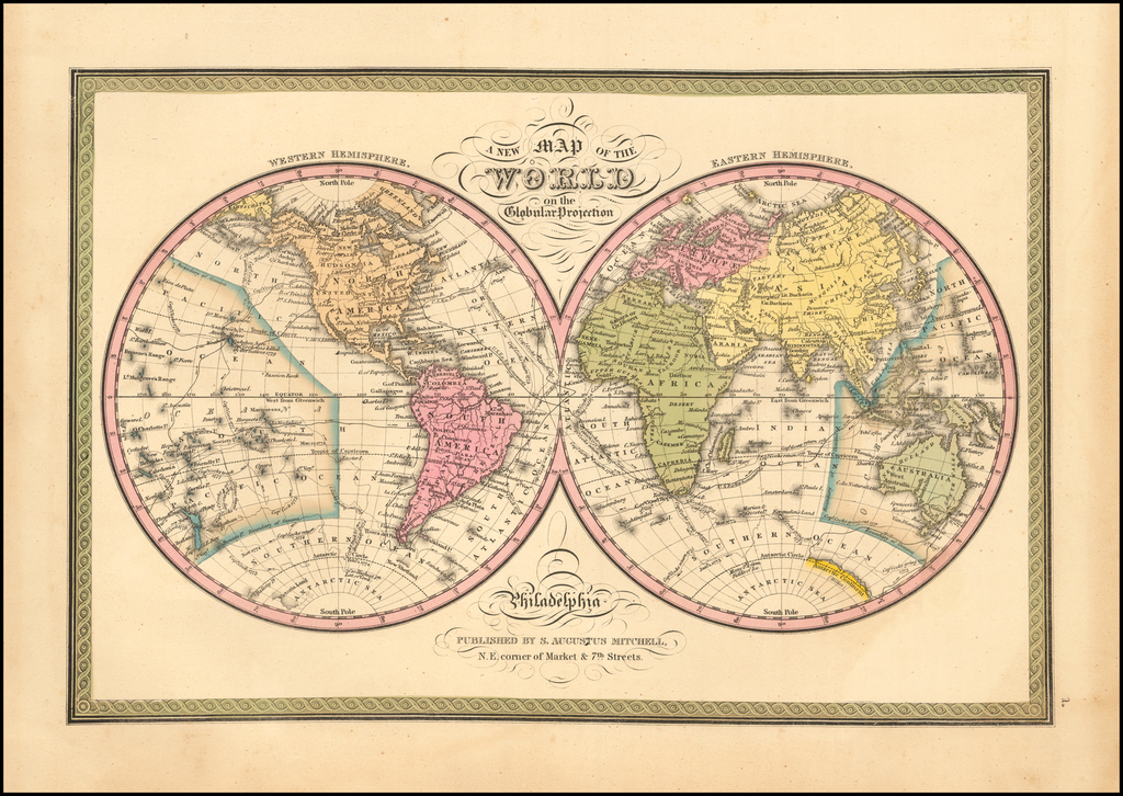 A New Map of the World on the Globular Projection … 1847 By Samuel Augustus Mitchell