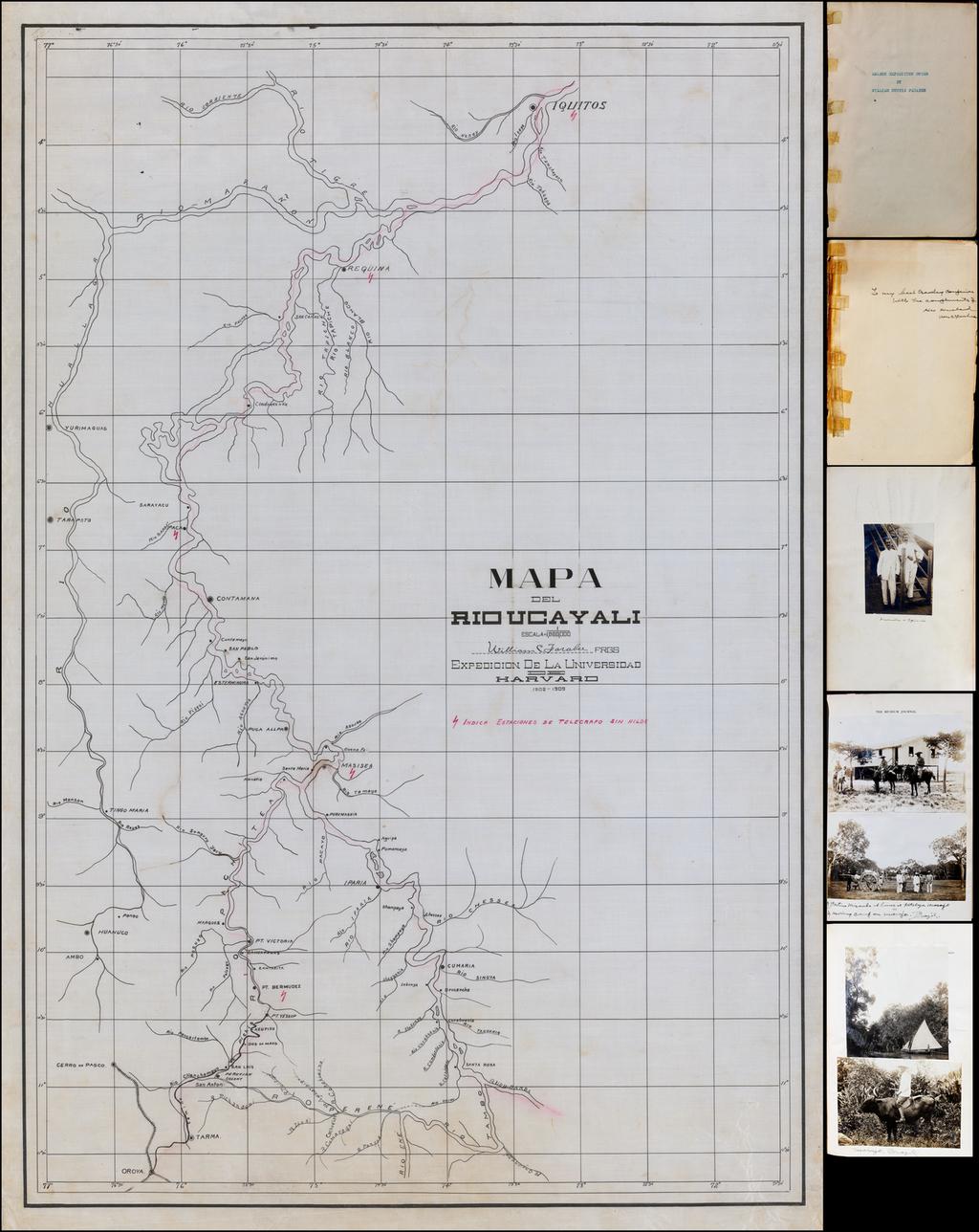 (7 Map Archive -- William Farrabee in Eastern Peru)  Mapa Del Rio Ucayali . . . Expedition De La Universidad de Harvard 1908-1909 By William Curtis Farabee