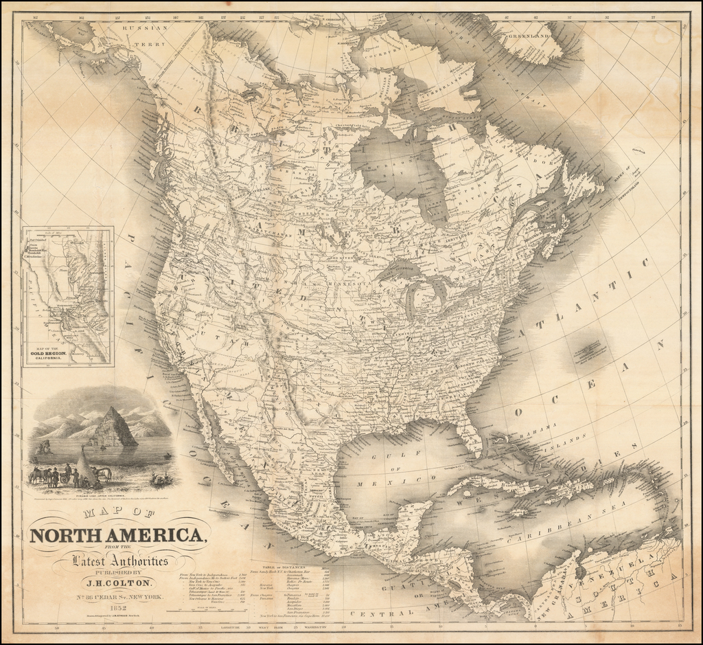Map of North America From The Latest Authorities . . . 1852  (with inset map of Gold Regions) By Joseph Hutchins Colton