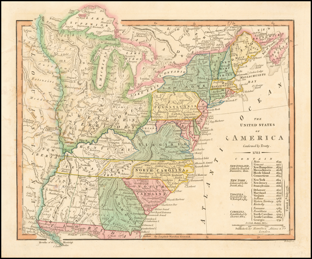 The United States of America Confirmed By Treaty 1783 [shows Franklinia] By Hamilton, Adams & Co.