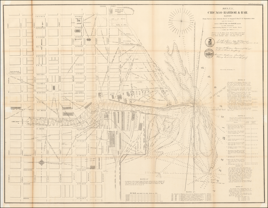 Chicago Harbor & Bar, Illinois.  From Survey made between 17th of August & the 2nd of September 1858. By U.S. Army Corps of Topographical Engineer