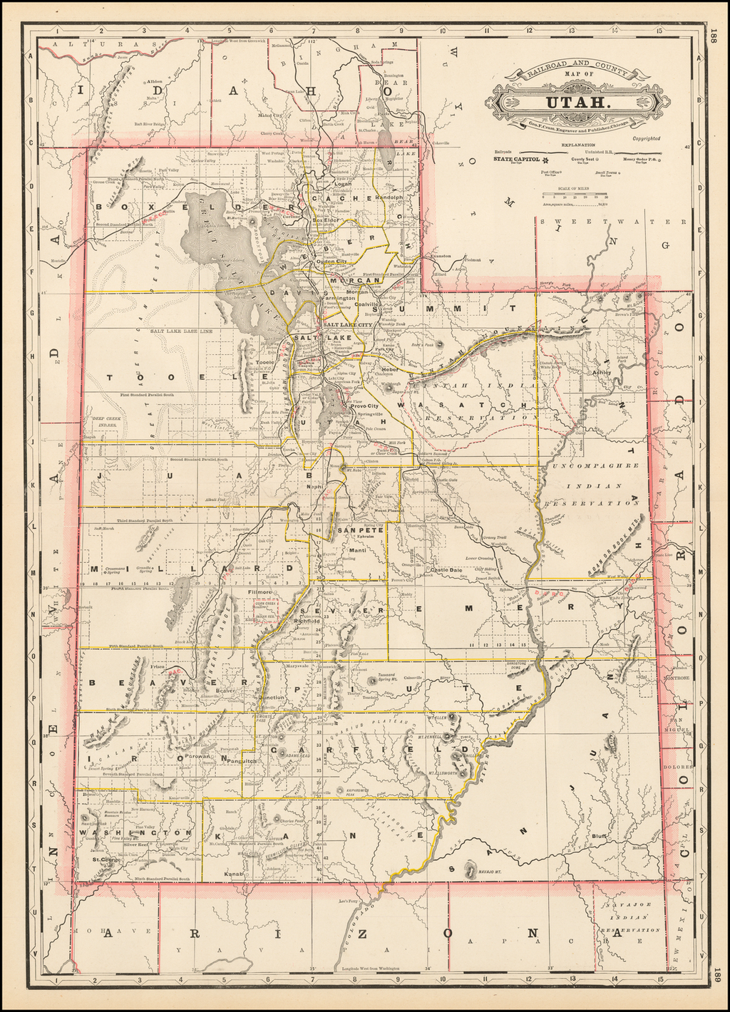 Railroad and County Map of Utah By George F. Cram