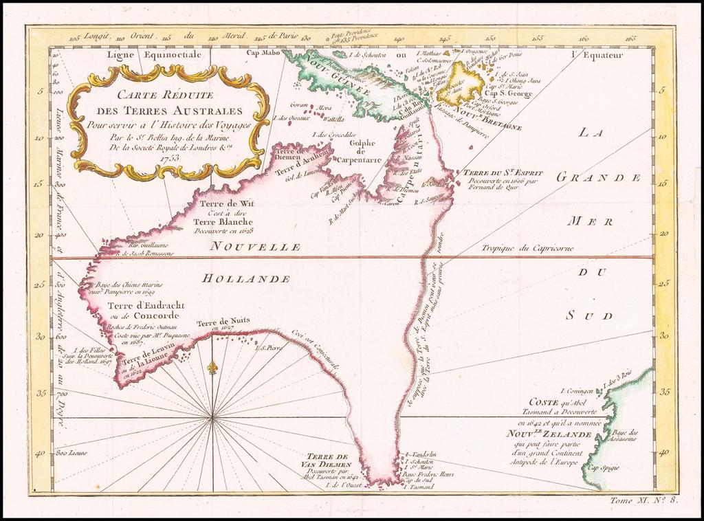 Carte Reduite Des Terres Australes . . . 1753 By Jacques Nicolas Bellin