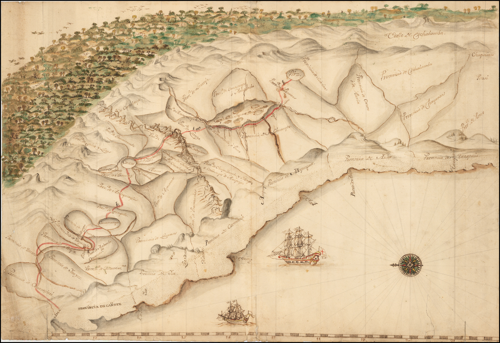 [Manuscript Pictographic Map of the Spanish Trading Route from Lima To La Paz] By Anonymous